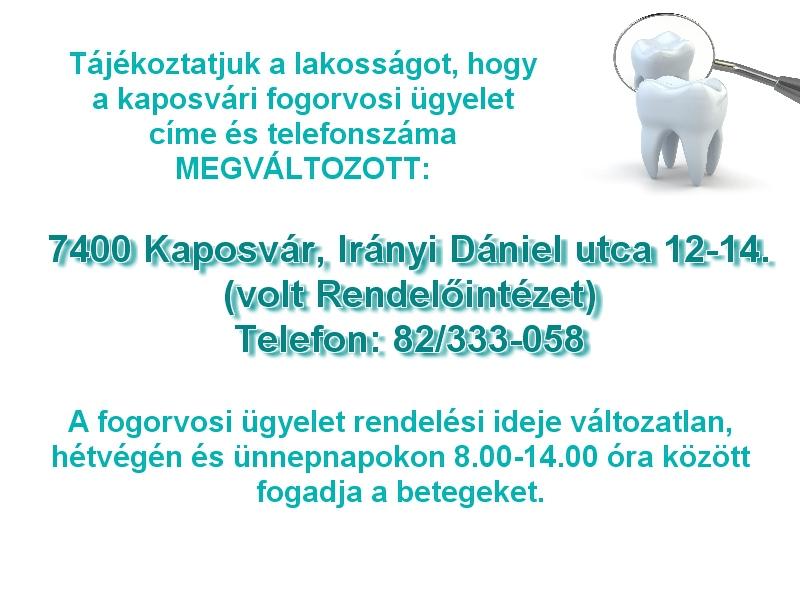 Kaposvári fogorvosi ügyelet