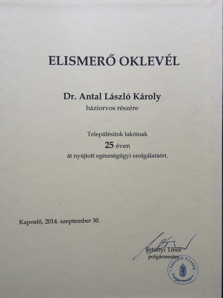 Dr Antal László oklevele